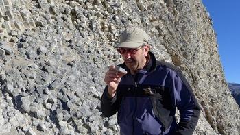 Photo: Brad Singer inspecting lava flow