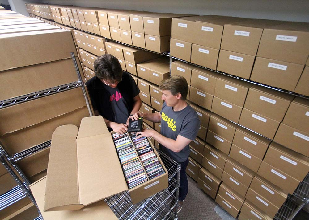 Photo: Austin and Younkle in CD warehouse